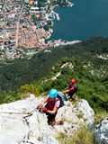 Via den Ferrata/Klettersteig klättringen Royaltyfria Bilder