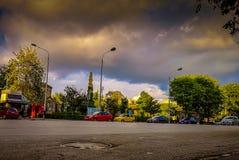 Via di Aristotelous il più famoso della città e del quadrato il punto di incontro più usuale per iniziare una passeggiata fotografie stock libere da diritti
