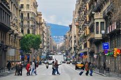 Via di Barcellona Fotografie Stock Libere da Diritti