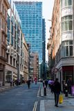 Via di Eldon in Moorgate, Londra Immagini Stock Libere da Diritti