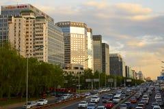 Via di finanza di Pechino, tramonto Immagine Stock