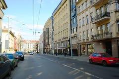 Via di Gediminas della città di Vilnius in tempo mattina Immagine Stock Libera da Diritti