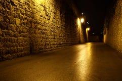 Via di Gerusalemme alla notte Fotografie Stock Libere da Diritti