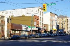 Via di Hasting nel Eastside del centro di Vancouver Immagini Stock