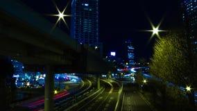 Via di intervallo di notte alla citt? di affari nella panoramica di Akasaka Tokyo archivi video