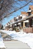 Via di inverno dello Snowy in Chicago Fotografia Stock Libera da Diritti