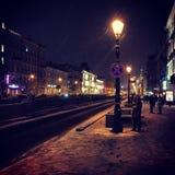 Via di inverno nella notte Fotografie Stock Libere da Diritti