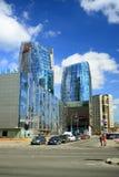 Via di Konstitucijos della città di Vilnius con i grattacieli Immagine Stock
