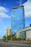 Via di Konstitucijos della città di Vilnius con i grattacieli Immagini Stock Libere da Diritti
