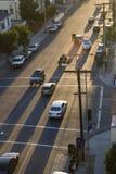 Via di Los Angeles con le ombre lunghe fotografia stock