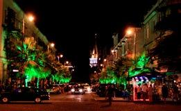 Via di notte a Batumi, Georgia Immagine Stock