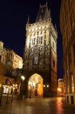 Via di notte di Praga Fotografia Stock