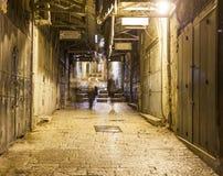 Via di notte a Tianjin Gerusalemme, Israele Fotografie Stock