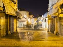 Via di notte a Tianjin Gerusalemme, Israele Fotografia Stock Libera da Diritti