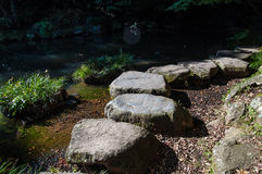 Via di pietra in parco giapponese Fotografie Stock Libere da Diritti