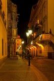 Via di Praga di notte Immagini Stock Libere da Diritti