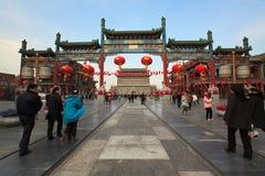 Via di Qianmen a Pechino, Cina Fotografie Stock Libere da Diritti