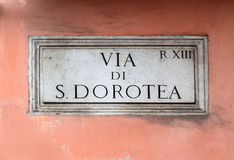 Via di S. Dorotea, street plate on a wall in Rome Royalty Free Stock Images
