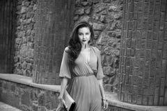 Via di seta del partito del vestito dalla bella passeggiata castana sexy della donna Immagine Stock