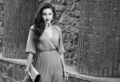 Via di seta del partito del vestito dalla bella passeggiata castana sexy della donna Immagini Stock Libere da Diritti