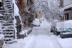 Via di Snowy a gennaio Fotografia Stock