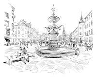 Via di Stroget copenhaghen denmark europa Illustrazione disegnata a mano di vettore royalty illustrazione gratis