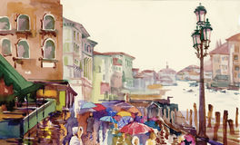 Via di vecchia città di autunno fatta nell'illustrazione di vettore di stile dell'acquerello Immagini Stock Libere da Diritti