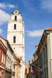 Via di vecchia città di Vilnius, Lituania Fotografie Stock Libere da Diritti