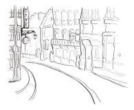 Via di vecchia città Illustrazione di vettore nello stile di schizzo illustrazione vettoriale