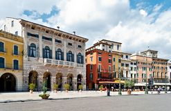 Via Dietro Anfiteatro, Verona, Italy. One of streets of the Verona center which is a world heritage site Stock Photo