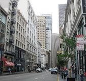 Via in distretto finanziario, San Francisco fotografie stock