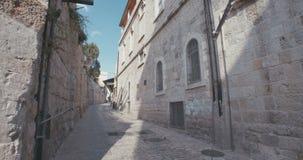 The Via Dolorosa in old city Jerusalem stock video