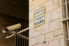 Via dolorosa sign in Jerusalem Old City Royalty Free Stock Photo