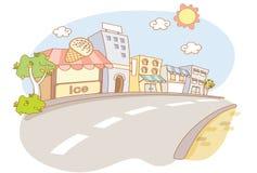 Via e fumetto della città Fotografia Stock