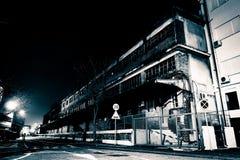 Via europea alla notte in bianco e nero Fotografia Stock