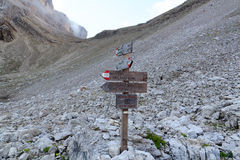 Via ferrata Alpinisteig sign in Sexten Dolomites mountains in South Tyrol Royalty Free Stock Photography