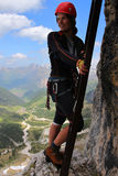 Via ferrata climbing Stock Image