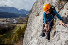 Via ferrata climbing Royalty Free Stock Images