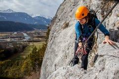 Via ferrata climbing Royalty Free Stock Images