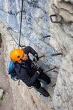 Via ferrata het beklimmen stock afbeelding