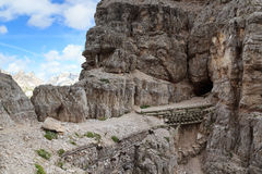 Via ferrata Innerkofler De Luca with tunnel entrance in Sexten Dolomites, South Tyrol Royalty Free Stock Photos
