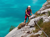 Via Ferrata-/klettersteigklättring Royaltyfria Foton