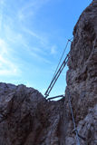 Via ferrata ladder and blue sky in Sexten Dolomites mountains, South Tyrol Royalty Free Stock Image
