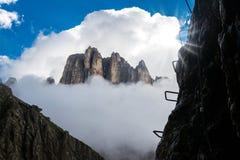 Via ferrata met bergen op achtergrond Royalty-vrije Stock Afbeeldingen