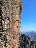 Via Ferrata in Yandang mountains ,China royalty free stock photography
