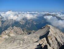 Via ferratas in Dolomiet - mening van bergpieken Royalty-vrije Stock Afbeeldingen