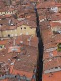 Via Fillungo. Lucca, Italy. Panorama of Tuscan city of Lucca with Via Fillungo, Italy. The view from the Guinigi Tower Stock Photos