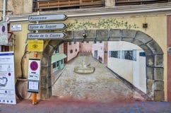 Via francese - arte dipinta della parete Immagine Stock Libera da Diritti
