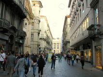 Via Garibaldi. Turin, Italy Stock Photos