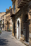 Via Giacomo Matteotti and La chiesa di Maria Santissima della Catena church. Cefalu, Sicily. Stock Photography